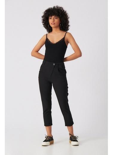 Robin Düğme Detaylı  Pantolon Siyah Siyah